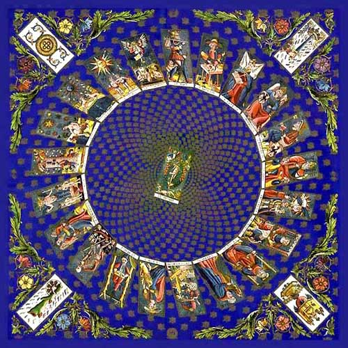 The cosmic Wheel of Tarot - Illuminated painting by Pierrick Pinot